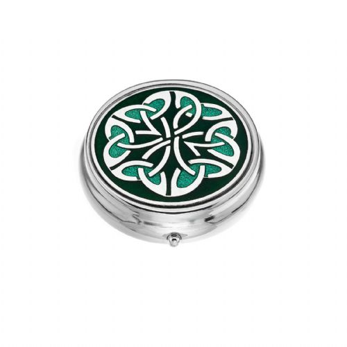 Large Pill Box Silver Plated Celtic Trinity Kells Green Brand New & Boxed